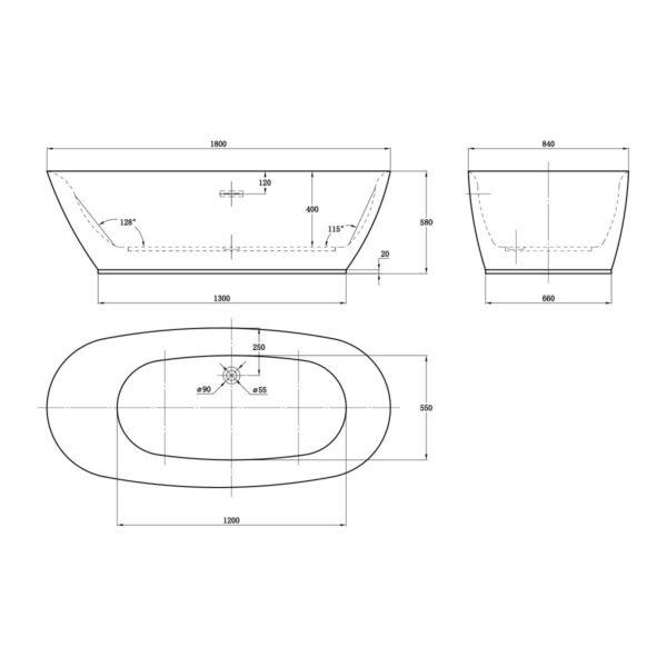 Ванна акриловая Vincea VBT-103