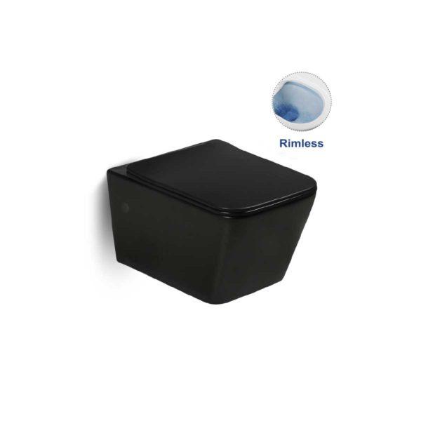 Унитаз подвесной Q-Line VT1-12B безободковый, ультратонкое  сиденье soft close,  черный матовый
