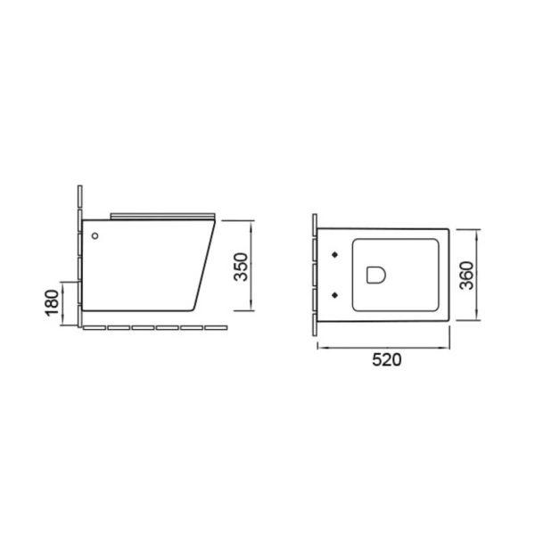 Унитаз подвесной Q-Line VT1-12 безободковый, ультратонкое soft close сиденье