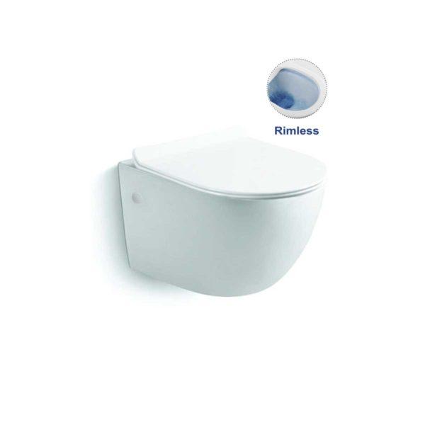 Унитаз подвесной Globo VT1-14S безободковый,  белый, ультратонкое сиденье soft-close