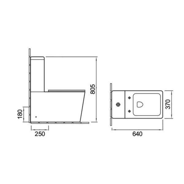 Унитаз-компакт Q-Line VT2-12, механиз слива  Geberit, ульратонкое сиденье soft close